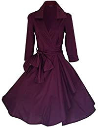 look for the stars Vintage 40's 50's Style Rockabilly/Swing/Pin up Cotton Wrap Evening Party Cocktail Dress Sizes 4-28 (16, Burgundy)