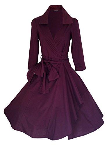 LOOK FOR THE STARS Retro Vintage Kleid Abend Party 50er Jahre Stil Rockabilly / Sommerkleid/Cocktailkleid UK(Herstellergröße16)44  burgunderfarben -