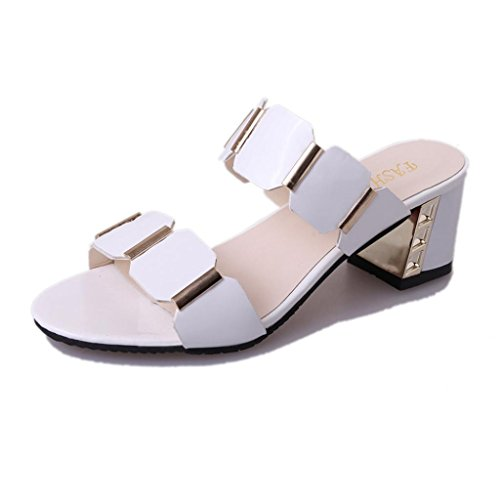 Estivi pantofole donna,witsaye eleganti donna tacco alto scarpe sandali ciabatte pantofole da spiaggia ragazze infradito (bianco, 38)