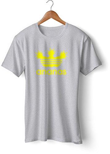 Fashion T-Shirt bedruckt, 190g mit Seitennaht, Fun Druck ananas Grau-Neongelb