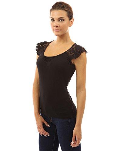 PattyBoutik femmes Top sans manches en dentelle fleurie au crochet Noir