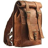 Urban Men 's Leather Vintage Roll On Sac à dos pour ordinateur portable Sac à dos taille unique Sac à dos marron Sac à dos