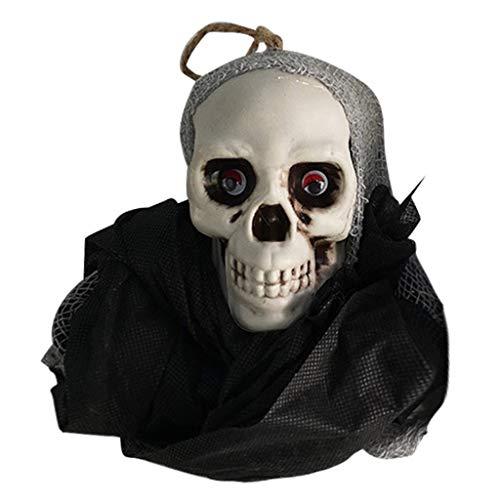 Sayla Halloween Dekoration animierter hängender Grim Reaper mit Schädel und Ketten Fesseln für die gruseligste Dekoration zu Halloween Requisiten Anhänger liefert (Schwarz)