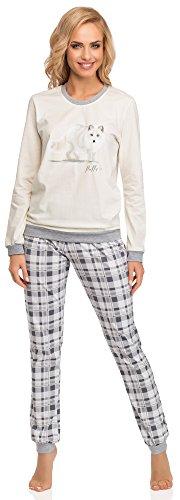 Cornette Damen Schlafanzug 683 2015 (Ecru/Grau(Fox), L) (Fox Lang)