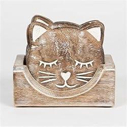 Sass & Belle Wooden Carved Cat Coaster (Set of 6) [Importación inglesa]