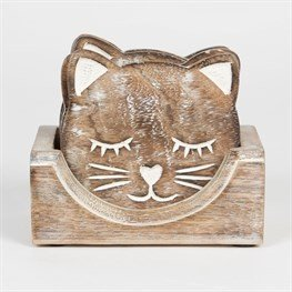 Drinks Coasters - Wooden Cat Coasters - Set of 6 in Storage Box (SC099)
