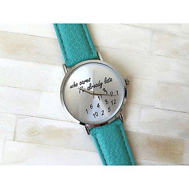 XKC-watches Herrenuhren, 3 Farben, die I\'m kümmert späten Trotzdem Beobachten Lederband Frauen-Quarzuhr Uhren Mujer (Farbe : Grün, Geschlecht : Für Damen)