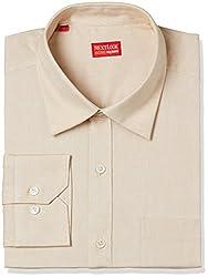 Raymond Mens Solid Regular Fit Formal Shirt (RESX00642-F4_Medium Fawn_42)