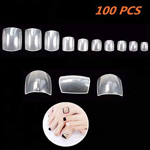 Halicer 100 Fullsize Zehennägel(Fußnägel Tips,falsche nägel,nägel tipps) klar transparent mit Aufbewahrungsbox