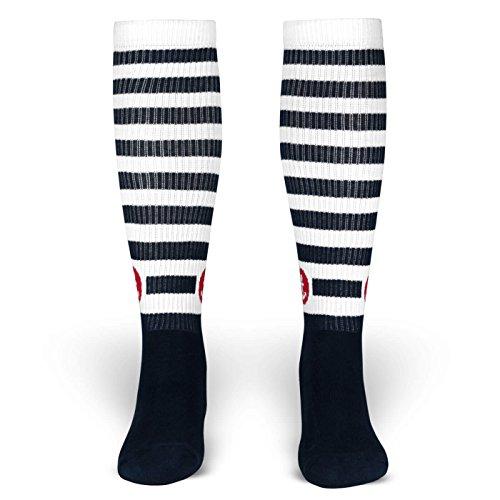 Punk Skate Kostüm (Fletcher | Socken von ROCKASOX | Weiß, Blau gestreift mit Anker | kniehoch | Unisex Strümpfe Size M)