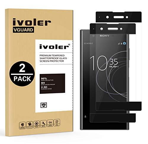 iVoler [2 Stücke] Panzerglas Schutzfolie für Sony Xperia XA1 Plus, [Volle Bedeckung] Panzerglasfolie foliefolie Hartglas Gehärtetem Glas DisplayPanzerglas