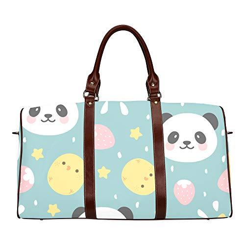 Reise-Seesack Netter Karton Panda Gesicht Tier wasserdichte Weekender-Tasche Übernacht-Tragetasche Handtasche für Frauen Damen-Einkaufstasche Mit Mikrofaser-Leder-Gepäcktasche