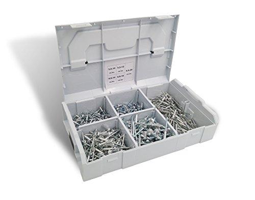 500 Teilig Blindnieten-Sortiment, Alu-Stahl, Flachrundkopf, DIN 7337 Form A - ISO 15977 485bb10