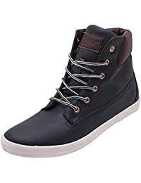 Roadster Men's Grey And Brown Leather High Top Shoes