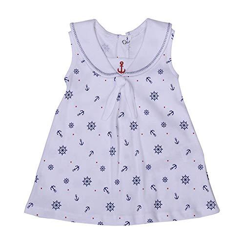 Baby Marine Frühling Sommer Dress Kleidchen ärmelloses Kleid im Marine Look Mädchen Marine Kleid von Größe 62-74 (62/3-6 M)