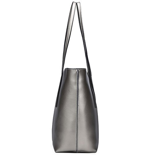 S-ZONE Morbida Genuine Leather Tote della maniglia di spalla delle donne del sacchetto di Fit 14 in computer portatile C-Argento
