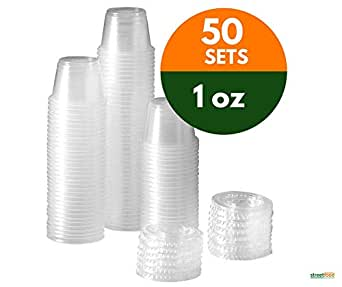 4oz Plastic Portion Sauce Container Cups with Clear Lids Disposable 25-500pcs