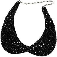 Mujeres damas elegante collar de la cadena de bricolaje camiseta blusa vestido suéter falso cuello