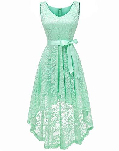 Berylove BLP7018 Damen Cocktailkleid Spitzen V Ausschnitt Ärmellos Elegant Hi-Lo Partykleider Minze L - Frauen Für Minze-kleid