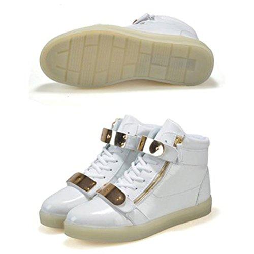 erwachsene Farbe Unisex H Sportschuhe Für Sneaker Leuchtend Lackleder Weiß High junglest® kleines Turnschuhe Led 7 Top present Handtuch Aufladen Usb Sport Schuhe qUSwFnHx4