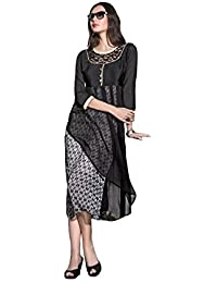 Lords Black Georgette Stitched Printed With Embroidery Kurti