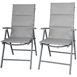Chicreat sedia pieghevole set di 2 con tappezzerie, sedia da campeggio reclinabile sedia da giardino color argento / grigio