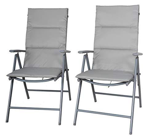 Chicreat juego de 2 sillas plegables con tapicería, silla de jardín plateada / gris silla de camping reclinable