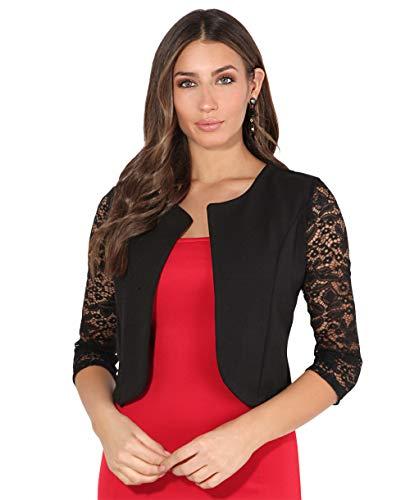 Krisp coprispalle bolero donna leggero elegante cerimonia manica giacca corta matrimonio nuziale taglie forti, nero (9330), large, 9330-blk-l/xl