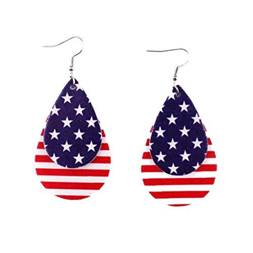 Culer Amerikanische Flagge Ohrringe Schmuck-Streifen PU-Leder Teardrop Statement Ohrringe Independence Day (Patriotische Ohrringe)