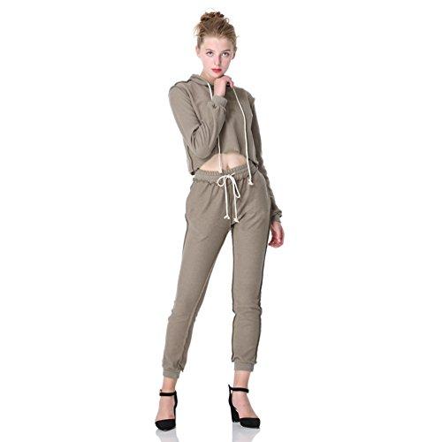 WanYang Donna 2 Piece Vestiti da Donne Eleganti Tuta Sportiva con Cappuccio Abbigliamento Sportivo Cachi