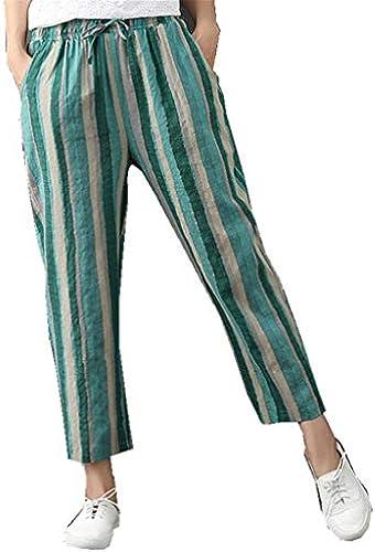 70c1b99780bf68 Damen Hohe Größe Streifen Slim Hose Yogogo Sommer Gerade 3 4 Laufhose Yoga  Leggings Yogahose Hosen Leinen Baumwolle... nquyqv1802-Kleidung