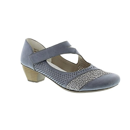 Rieker 41743, Scarpe con Tacco Donna, Blu (Adria/Jeans / 12), 36 EU