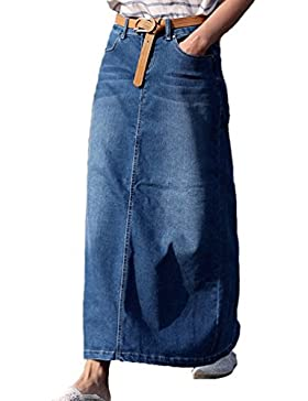 NiSeng Donna Jeans Lungo Gonna Mode Cucitura Denim Skirts Casual Denim Skirts Jeans Gonna