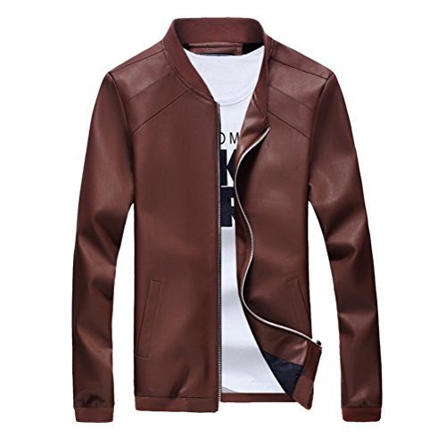 Zhhlaixing doux Mens Long Sleeve Classic PU Leather Jacket Outerwear Coat Casual Tops brown