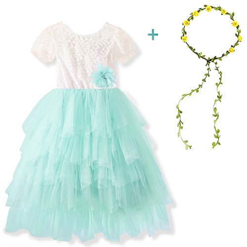 TTYAOVO Spitze Zurück Blumenmädchen Kleid, Baby Mädchen Sommer Backless Prinzessin Hochzeit Kleid mit Mädchen Garland Stirnband Größe 6-7 Jahre Grün