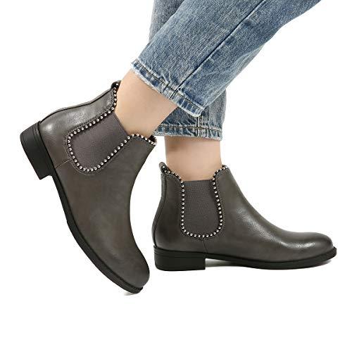 Gracosy stivali da donna, scarpe invernali neve chelsea boots stivaletti più velluto con tacco basso mocassini casual con cinturino e fibbia nero grigio marrone con comoda suola sconto natale regalo