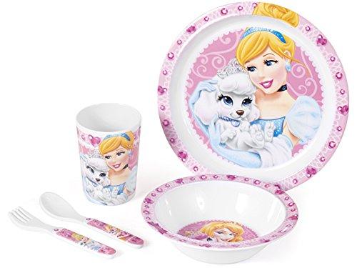 Home confezione 5 pezzi melamina princess&pets arredo cameretta accessori bimbo, rosa