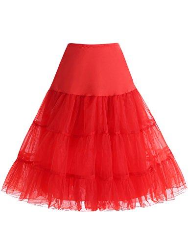 (bbonlinedress Organza 50s Vintage Rockabilly Petticoat Underskirt Red M)