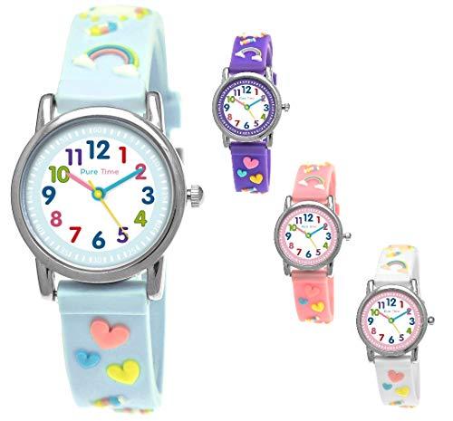 Pure Time® Einhorn Unicorn Kinder-Uhr Mädchen-Uhr Kinder Armband-Uhr Pferd Pony Tier Silikon Armband Mädchen Uhr Kinderuhr Weiß Rosa Lila Türkis Gelb Lern-Uhr Schul-Uhr 3D (Türkis - Turquoise)