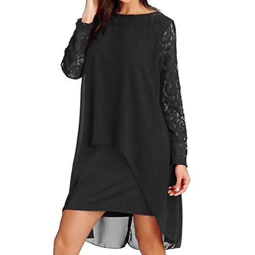 ❤❤ JiaMeng Locker Mode Mini Kleider Elegant Spitze Ärmel Sommerkleid Chiffon Reizend Asymmetrisch Abendkleider weich lässig Outdoor Kleid für mollige S-XXXXXL - Mit T-shirt-kleid Schlitzen
