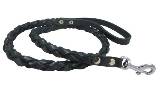 Braided Thong (Black 4-thong Round Fully Braided Genuine Leather Dog Leash, 4 Ft Long, Large Breeds by Dogs My Love)