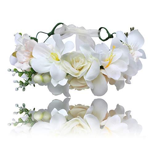 AWAYTR Damen Mädchen Blumenkrone Stirnband Haarkranz - Bohemien Einstellbar Blumenstirnband mit Beeren Hochzeit Haar Kranz für Kinder Festival Kopfschmuck Blumengirlande (Weiß + beige) -