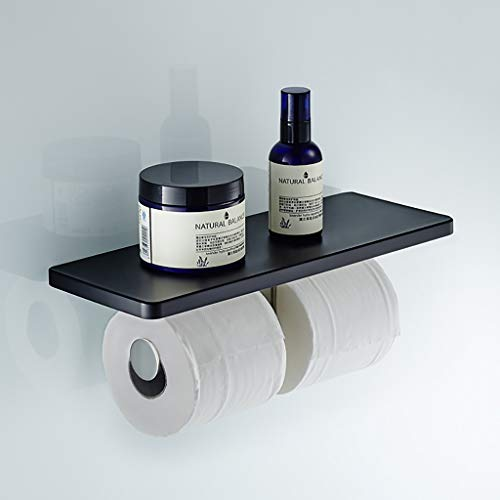 North cool Punch-Free Badezimmer-Regal Papierhandtuchhalter Toilettenpapierhalter Hand Papier Box Quadratische Platte Mit Doppelachse Wand Hängen Rollenhalter (Farbe : Schwarz)