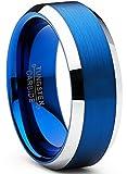 Ultimate Metals Co. 8mm Herren Wolframcarbid Gebürstet Ehering Mit Blau Plattiert, Bequemlichkeit Passen Größe 58