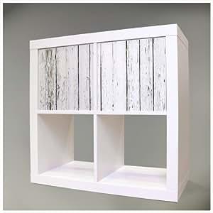 Feuille adhésive pour IKEA KALLAX (EXPEDIT) tablette 67,8 x 32,6 cm avec motif Blanc clôture en bois
