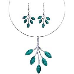 Yazilind Vintage Tibetan Silver Branch azul turquesa babero collar llamativo pendientes Set regalo de las mujeres