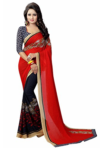 Ishin Faux Georgette Purple & Red Half & Half Printed Party Wear Wedding Wear Casual Wear Festive Wear Bollywood New Collection Latest Design Trendy Women's Saree/Sari  available at amazon for Rs.399