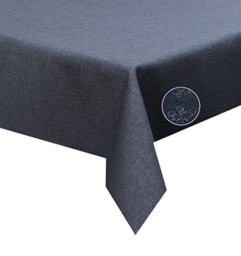 Tischdecke grau, anthrazit 135x180cm Oval Lotuseffekt, abwaschbar, Schmutz- und Wasserabweisend, eckig - Größe, Farbe & Form wählbar (Rund Eckig Oval)