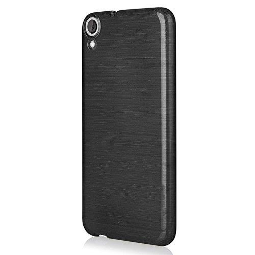 EGO® Brushed Silikon Case für HTC Desire 820, Schwarz TransparentHandy Tasche Metallic Effect Cover Schutz Hülle Schwarz Transparent