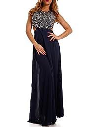 590a4cba4571 Young-Fashion Damen Abendkleid Ballkleid Maxikleid Chiffonkleid mit  Strasssteinen…
